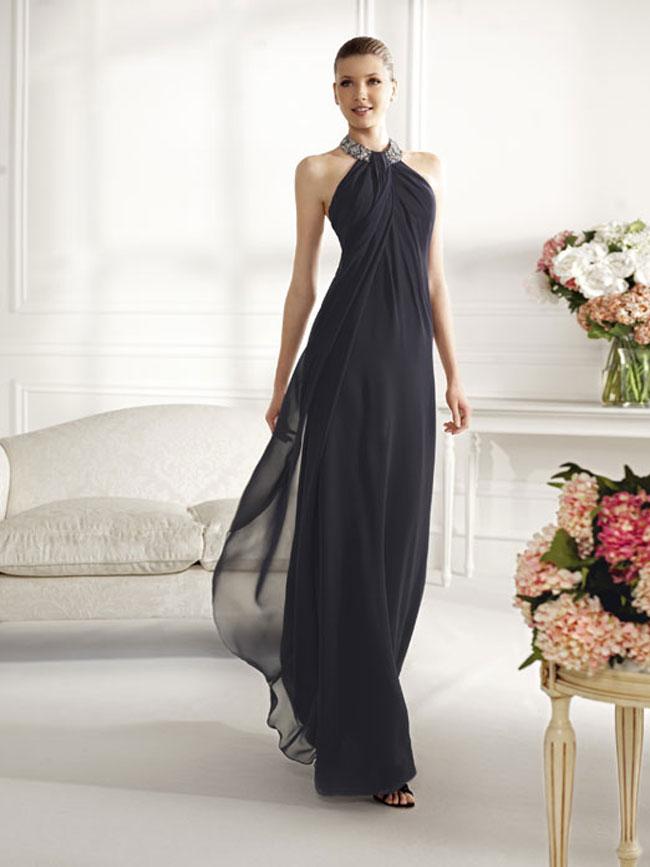 Tipos de cuello en vestidos de noche